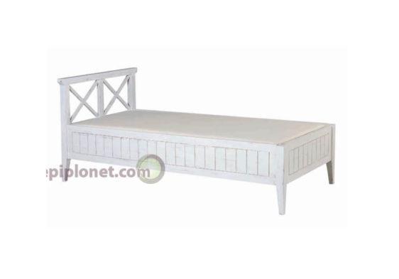 Κρεβάτι Μονό απο Μαόνι σε Λευκή Πατίνα J-143542
