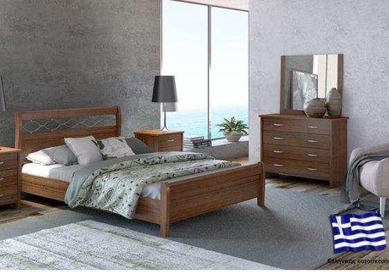 Κρεβάτι από οξιά και mdf με αλυσίδα μεταλλική.S-050303
