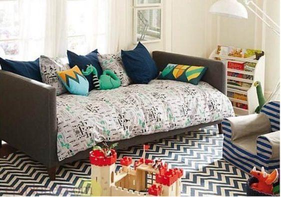 Καναπές μονό κρεβάτι υφασμάτινος E-110043