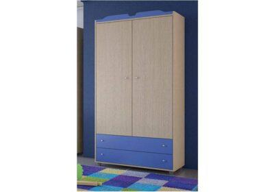 Δίφυλλη ντουλάπα σε χρώμα δρυς με μπλε