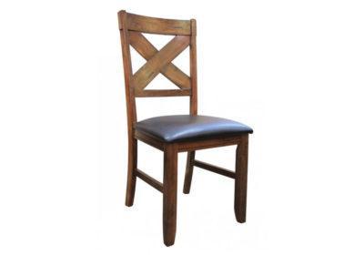 Ξύλινη καρέκλα με δέρμάτινο κάθισμα G-135067