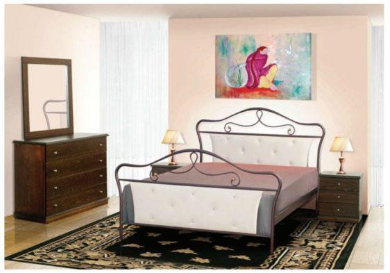 Μεταλλικό Κρεβάτι Με Δερματίνη M-050634