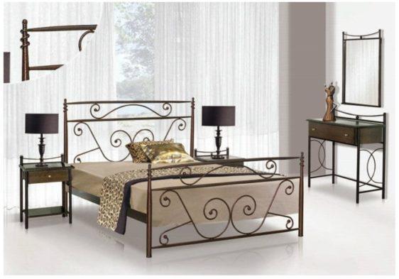 Μεταλλικό Κρεβάτι Με Πλούσιο Σχέδιο Μ-050638