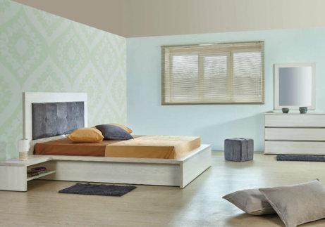 Κρεβατοκάμαρα ξύλινη με ύφασμα στο κεφαλάρι