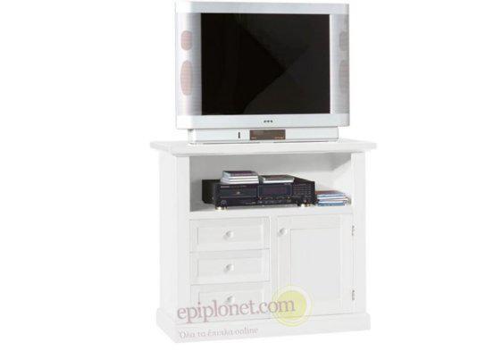 Λευκό έπιπλο τηλεόρασης με ντουλάπι