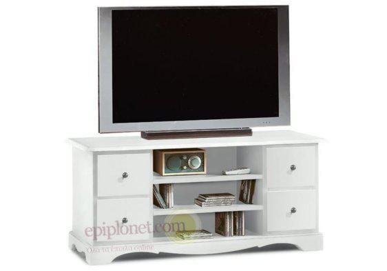 Λευκό έπιπλο τηλεόρασης με τέσσερα συρτάρια και τρία ράφια