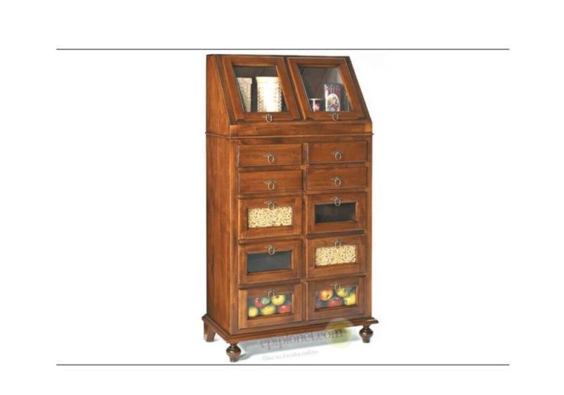 Ξύλινη Συρταριέρα - Τροφοθήκη Κουζίνας με Τζάμι ΤΕ-126604