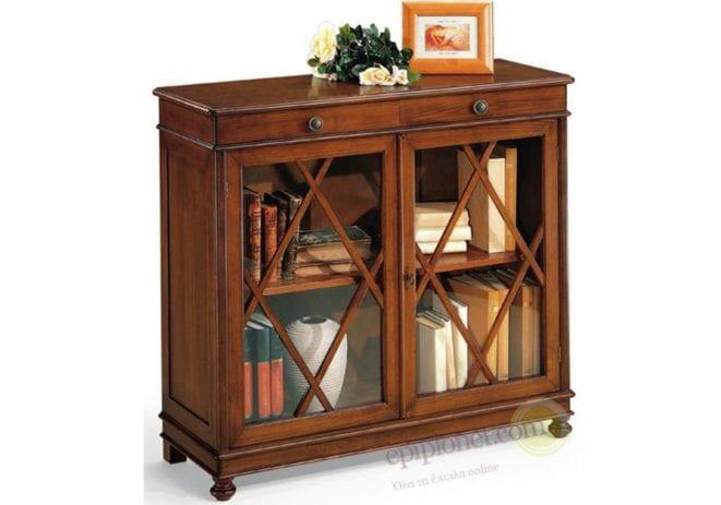 Μικρή ξύλινη βιβλιοθήκη με δύο ράφια και δύο ντουλάπια