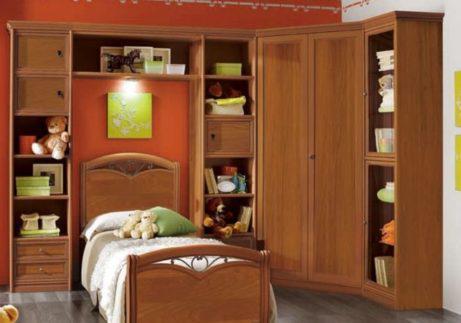 Σύνθεση παιδικού δωματίου με βιβλιοθήκη και ντουλάπα