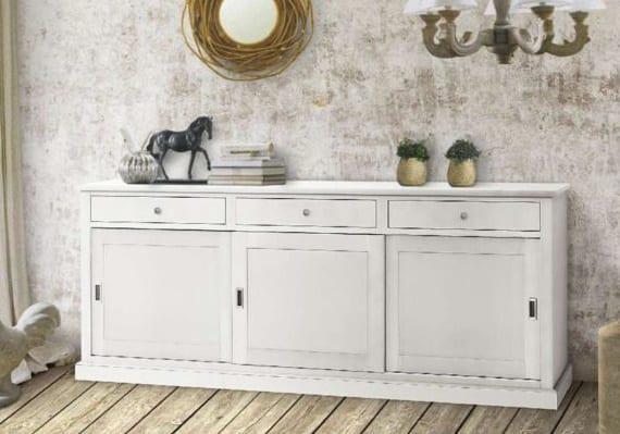 Λευκός μπουφές με τρία συρτάρια και τρία ντουλάπια