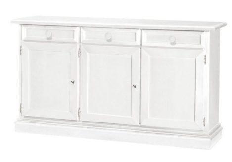 Λευκός Ιταλικός μπουφές με τρία πορτάκια και τρία συρτάρια