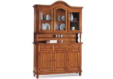 Βιτρίνα-μπουφές με δύο ράφια, τρία ντουλάπια και τρία συρτάρια