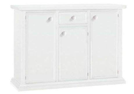 Λευκός μπουφές με ένα συρτάρι και τρία πορτάκια