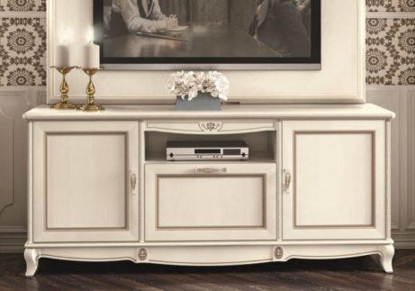 Μεγάλο λευκό έπιπλο τηλεόρασης με τρία ντουλάπια