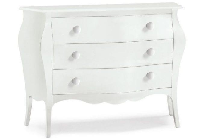 Λευκή συρταριέρα με τρία βαθιά συρτάρια