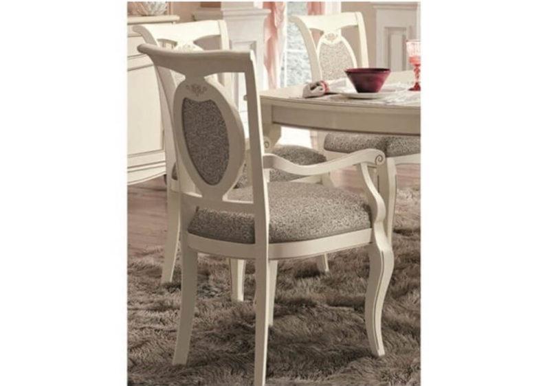 Λευκή Κλασική Πολυθρόνα με Ύφασμα CG-135133