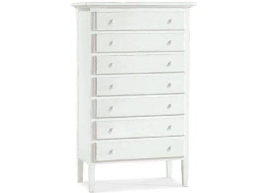 Ψηλή λευκή συρταριέρα με εφτά συρτάρια