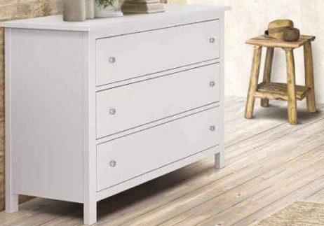 Συρταριέρα λευκή με 3 συρτάρια