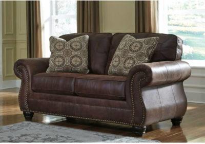 Διθέσιος Κλασσικός Καναπές σε Καφέ Χρώμα με Υφή Δέρματος G-105029