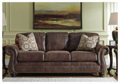 Τριθέσιος Κλασσικός Καναπές σε Καφέ Χρώμα με Υφή Δέρματος G-105028