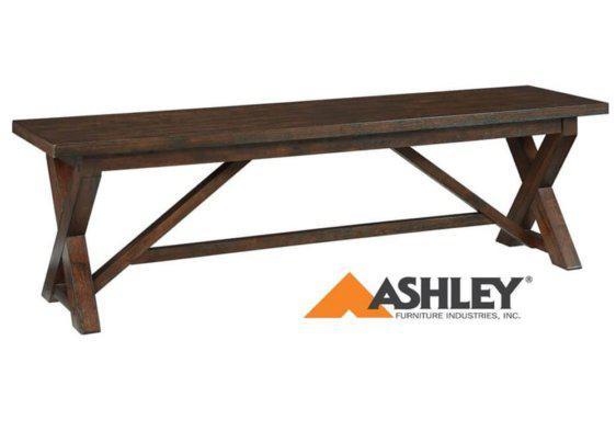 ξύλινος πάγκος τραπεζαρίας ashley με σχέδιο χιαστί