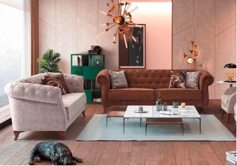 Καναπές Κρεβάτι με Καπιτονε Πλάτη σε Καφέ Χρώμα Ef-105043