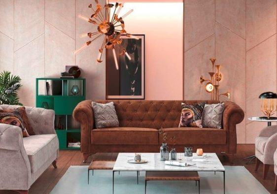 Κλασσικός Τριθέσιος Καναπές Κρεβάτι με Καπιτονε Πλάτη σε Καφέ Χρώμα Ef-105043