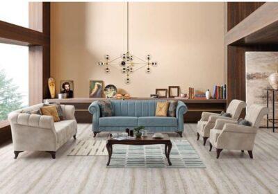 Παραδοσιακός Τριθέσιος Καναπές Κρεβάτι με Ριγέ Σχέδιο στην Πλάτη Ef-105044