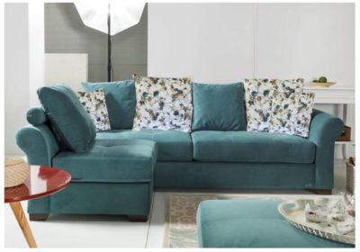 Γωνιακός Καναπές Κρεβάτι με Καμπυλωτά Μπράτσα Φ-100102