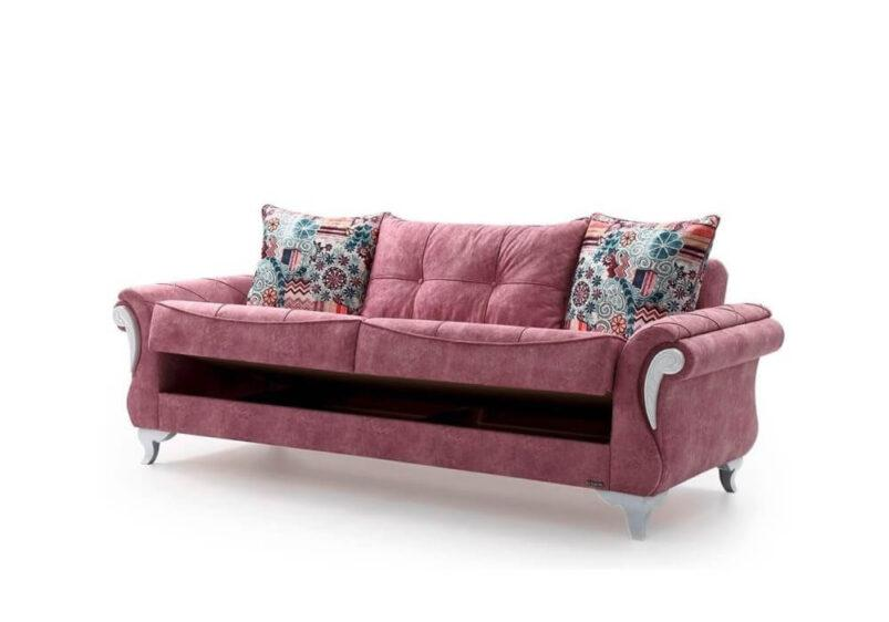 Country Τριθέσιος Καναπές Κρεβάτι Λευκός Ef-105078