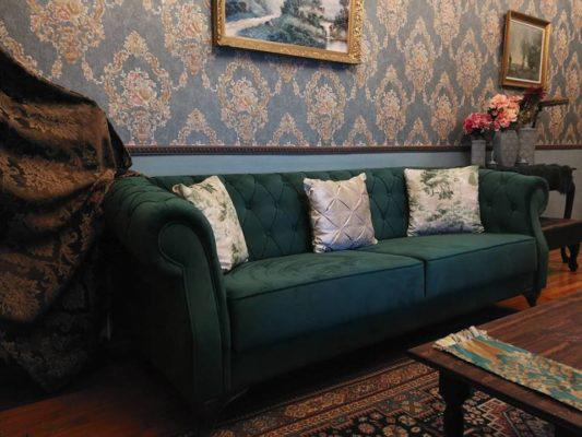 Πρασινος καναπες μπαροκ, μπαροκ έπιπλα σε προσφορά, ύφασμα επίπλωσης για μπαροκ έπιπλα