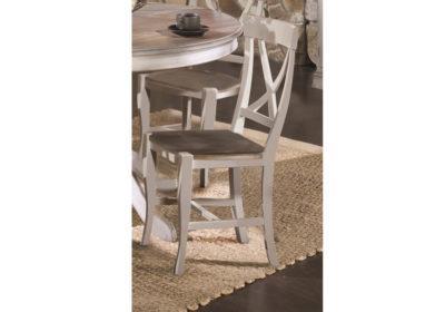 Καρέκλα country σε λευκή πατίνα με γκρι ξύλινο κάθισμα