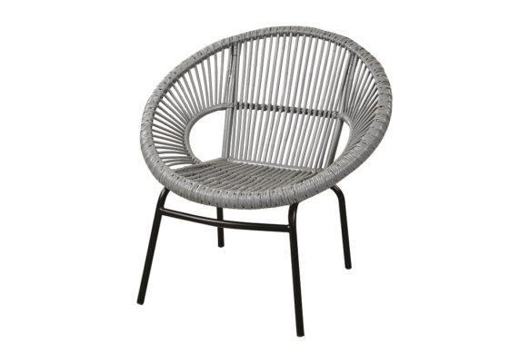 γκρι πολυθρόνα από μέταλλο και ραττάν σε κυκλικό σχήμα