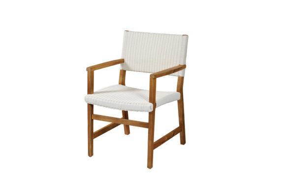 λευκή πολυθρόνα από teak και συνθετικό ραττάν