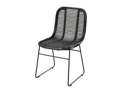 Μαύρη μοντέρνα καρέκλα κήπου από φυσικό ραττάν