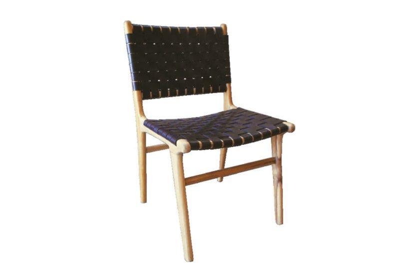 πλεχτή καρέκλα από δέρμα και ξύλο