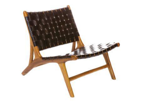 πλεχτή πολυθρόνα από δέρμα και ξύλο