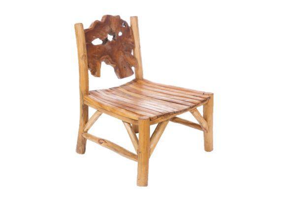 πολυθρόνα με πλάτη σε αφηρημένο σχήμα από ξύλο teak