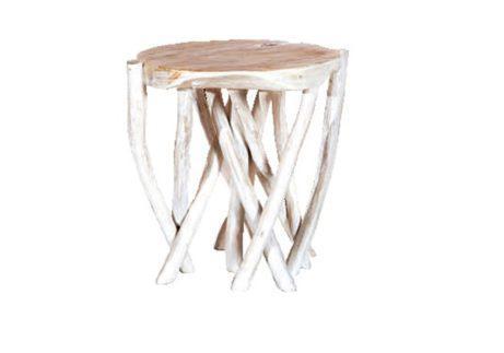σκαμπό από ξύλο teak με βάση κλαδιά δέντρου