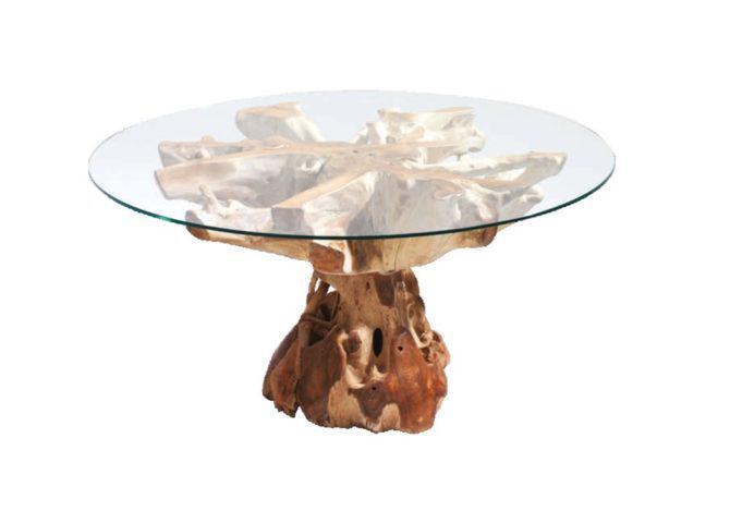 τραπέζι φαγητού από ρίζα δέντρου teak