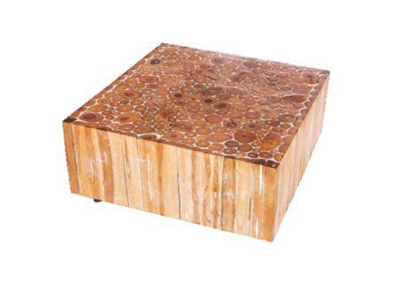 τραπέζι καφέ από κορμό δέντρου σε τετράγωνο σχήμα