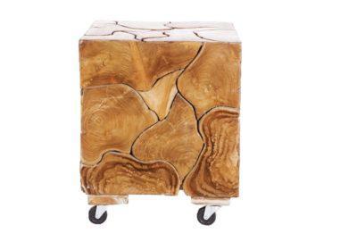 ξύλινο τραπέζι κύβος με ρόδες