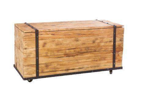 ξύλινο τραπέζι μπαούλο με ρόδες