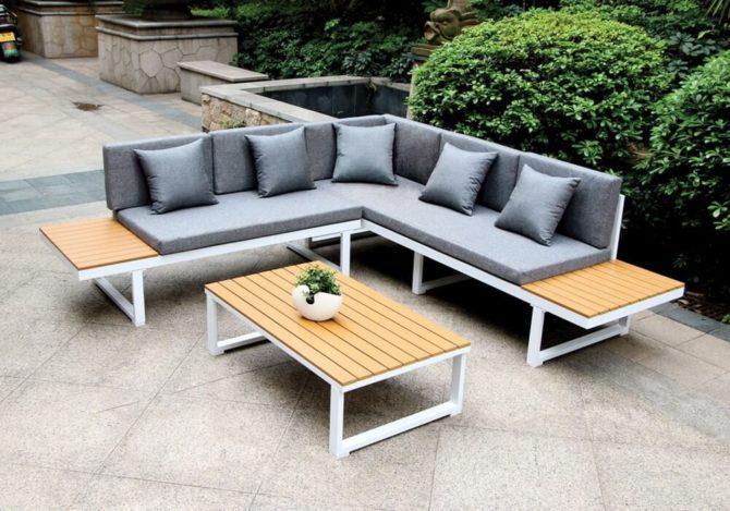 γωνιακό καθιστικό σετ κήπου από αλουμίνιο