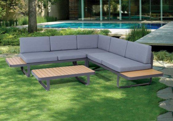 γωνιακός καναπές καθιστικό σετ αλουμινίου