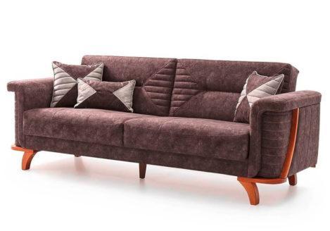 Τριθέσιος καναπές κρεβάτι με ξύλινα πόδια