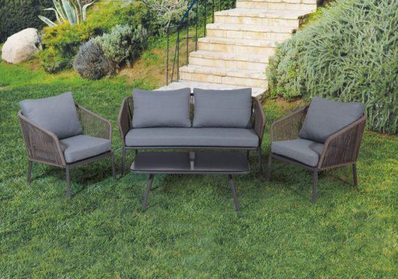 καθιστικό κήπου αλουμινίου με ιμάντες σετ