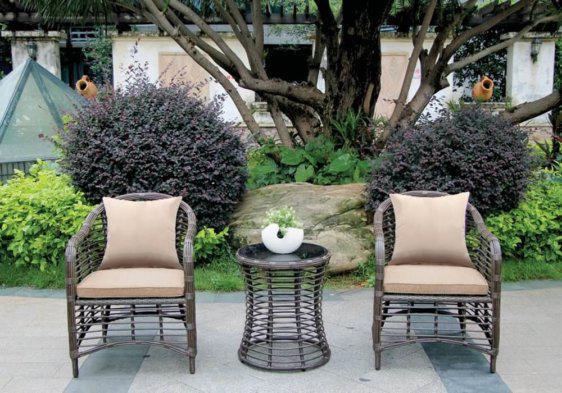 καθιστικό σετ κήπου από ξύλο ραττάν