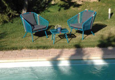 καθιστικό σετ με σκελετό αλουμινίου σε μπλε χρώμα