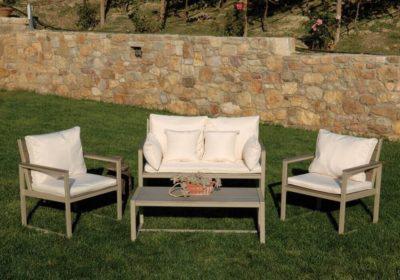 καθιστικό σετ polywood και αλουμινίου με μαξιλάρια